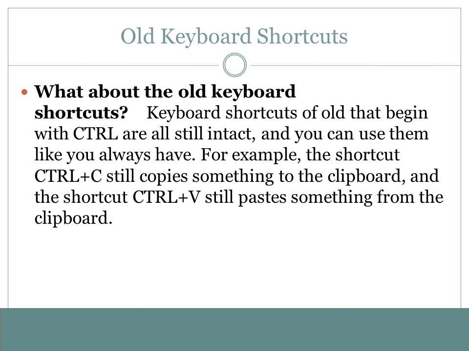 www.alterNativeMedia.biz© 2008 aNm – Michael Sheyahshe Old Keyboard Shortcuts What about the old keyboard shortcuts? Keyboard shortcuts of old that be