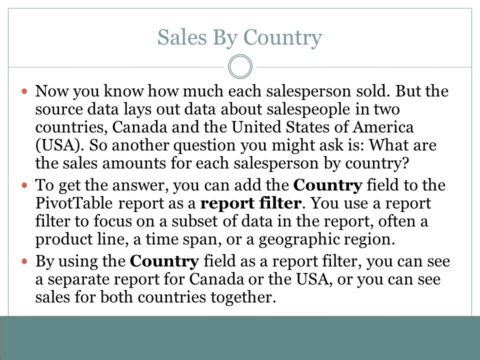 www.alterNativeMedia.biz© 2008 aNm – Michael Sheyahshe Sales By Country Now you know how much each salesperson sold. But the source data lays out data