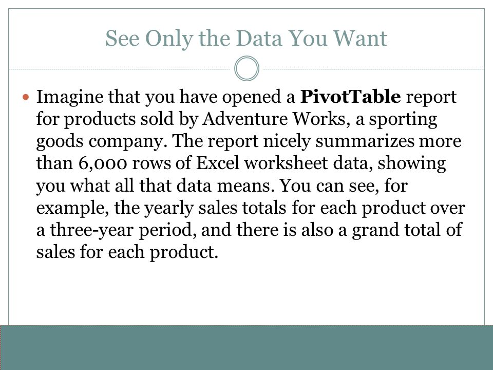 www.alterNativeMedia.biz© 2008 aNm – Michael Sheyahshe See Only the Data You Want Imagine that you have opened a PivotTable report for products sold b