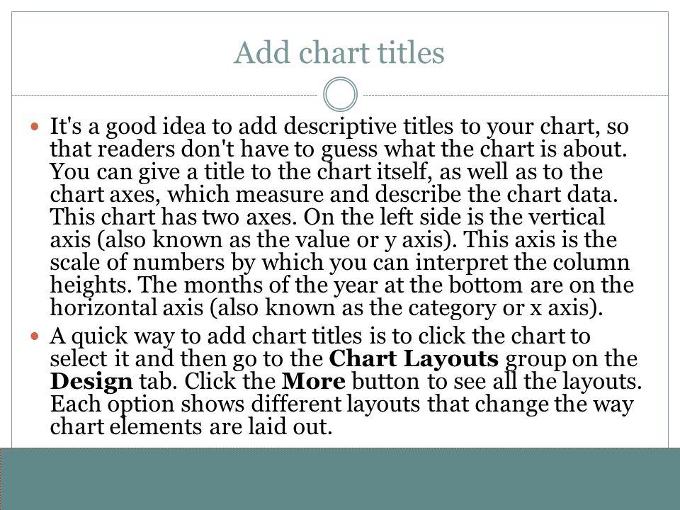 www.alterNativeMedia.biz© 2008 aNm – Michael Sheyahshe Add chart titles It's a good idea to add descriptive titles to your chart, so that readers don'