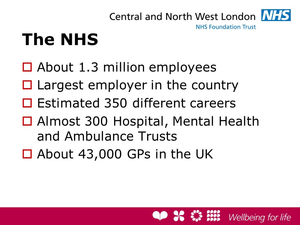 The NHS  About 1.3 million employees  Largest employer in the country  Estimated 350 different careers  Almost 300 Hospital, Mental Health and Ambulance Trusts  About 43,000 GPs in the UK