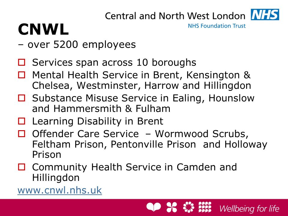 CNWL – over 5200 employees  Services span across 10 boroughs  Mental Health Service in Brent, Kensington & Chelsea, Westminster, Harrow and Hillingdon  Substance Misuse Service in Ealing, Hounslow and Hammersmith & Fulham  Learning Disability in Brent  Offender Care Service – Wormwood Scrubs, Feltham Prison, Pentonville Prison and Holloway Prison  Community Health Service in Camden and Hillingdon www.cnwl.nhs.uk