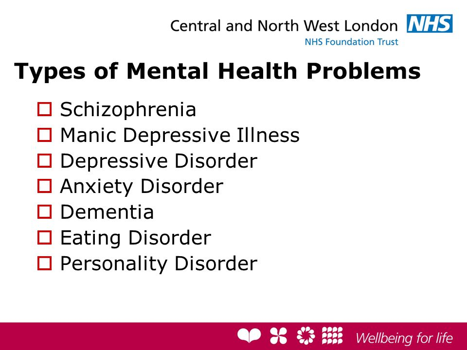 Types of Mental Health Problems  Schizophrenia  Manic Depressive Illness  Depressive Disorder  Anxiety Disorder  Dementia  Eating Disorder  Personality Disorder