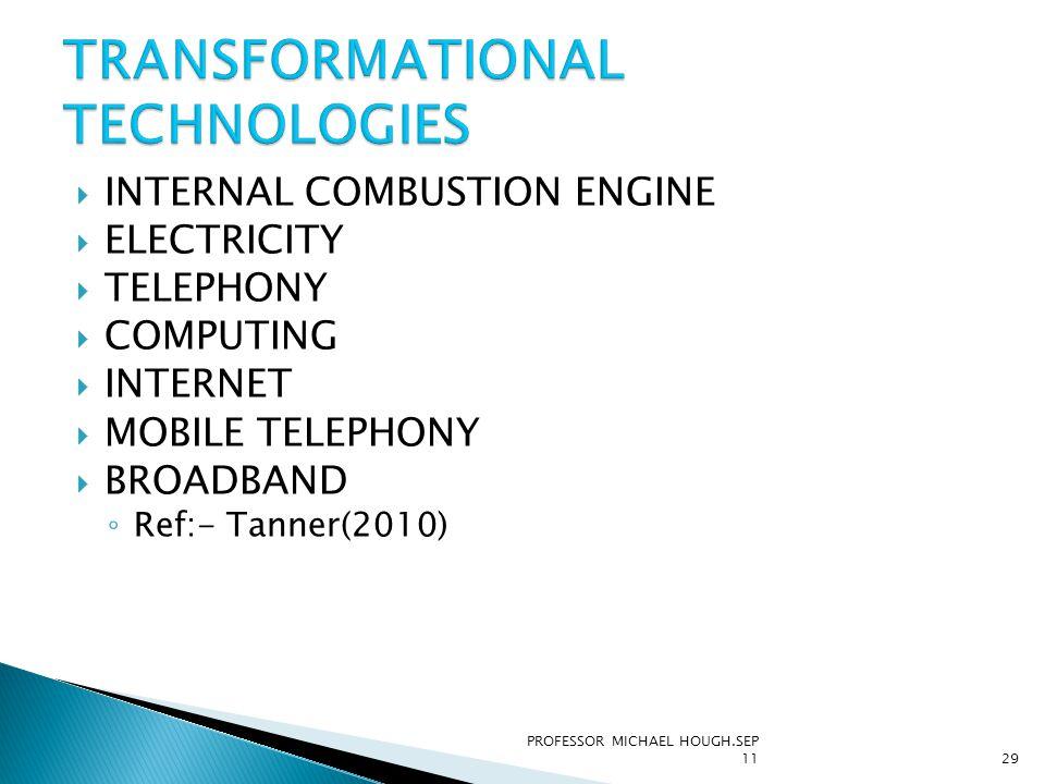  INTERNAL COMBUSTION ENGINE  ELECTRICITY  TELEPHONY  COMPUTING  INTERNET  MOBILE TELEPHONY  BROADBAND ◦ Ref:- Tanner(2010) PROFESSOR MICHAEL HO
