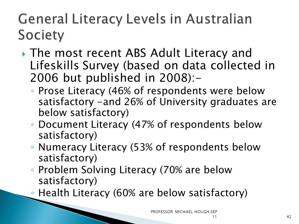 The most recent ABS Adult Literacy and Lifeskills Survey (based on data collected in 2006 but published in 2008):- ◦ Prose Literacy (46% of respondents were below satisfactory -and 26% of University graduates are below satisfactory) ◦ Document Literacy (47% of respondents below satisfactory) ◦ Numeracy Literacy (53% of respondents below satisfactory) ◦ Problem Solving Literacy (70% are below satisfactory) ◦ Health Literacy (60% are below satisfactory) PROFESSOR MICHAEL HOUGH.SEP 1142
