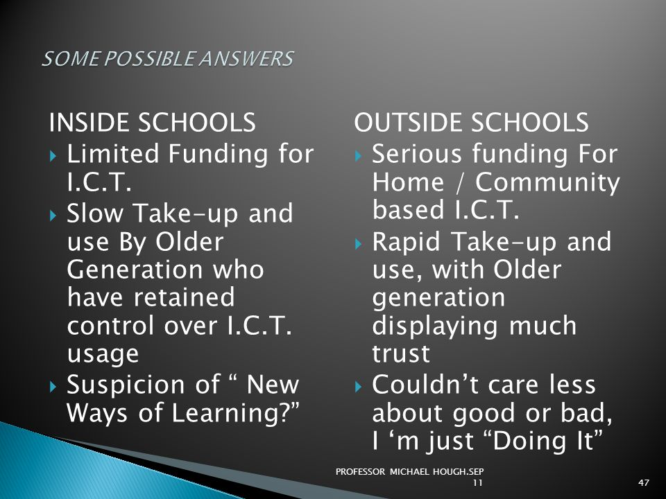 """INSIDE SCHOOLS  Limited Funding for I.C.T.  Slow Take-up and use By Older Generation who have retained control over I.C.T. usage  Suspicion of """" Ne"""