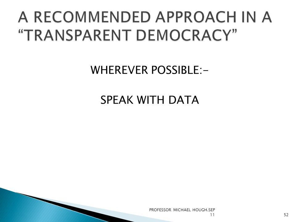 WHEREVER POSSIBLE:- SPEAK WITH DATA PROFESSOR MICHAEL HOUGH.SEP 1152