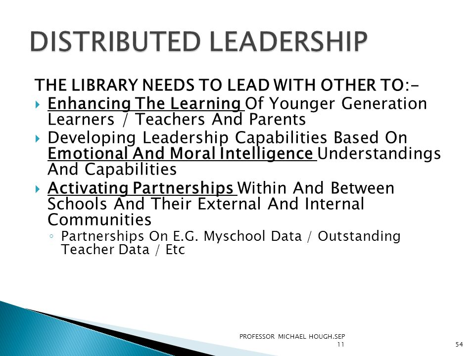 THE LIBRARY NEEDS TO LEAD WITH OTHER TO:-  Enhancing The Learning Of Younger Generation Learners / Teachers And Parents  Developing Leadership Capab