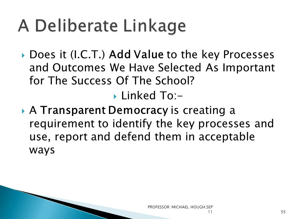  Does it (I.C.T.) Add Value to the key Processes and Outcomes We Have Selected As Important for The Success Of The School.