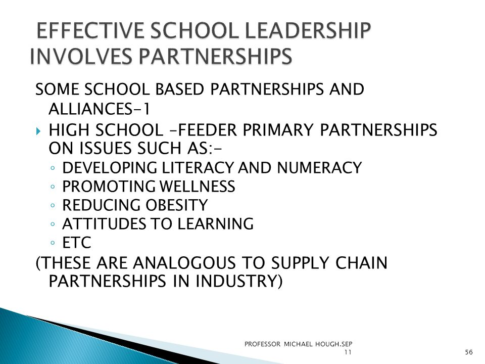 SOME SCHOOL BASED PARTNERSHIPS AND ALLIANCES-1  HIGH SCHOOL –FEEDER PRIMARY PARTNERSHIPS ON ISSUES SUCH AS:- ◦ DEVELOPING LITERACY AND NUMERACY ◦ PROMOTING WELLNESS ◦ REDUCING OBESITY ◦ ATTITUDES TO LEARNING ◦ ETC (THESE ARE ANALOGOUS TO SUPPLY CHAIN PARTNERSHIPS IN INDUSTRY) PROFESSOR MICHAEL HOUGH.SEP 1156