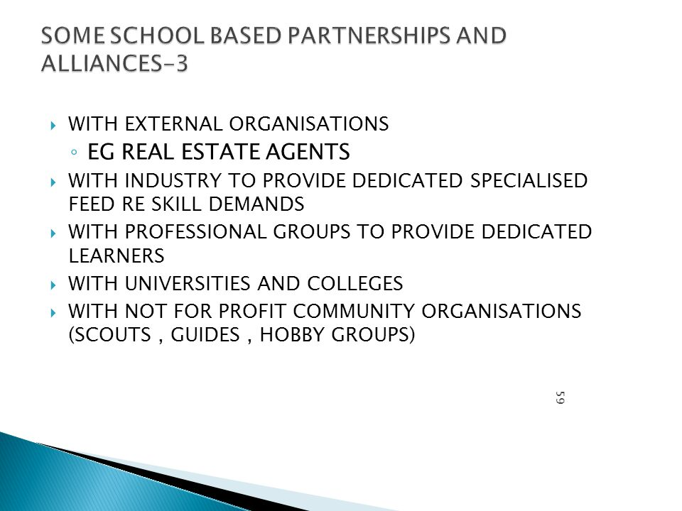 WITH EXTERNAL ORGANISATIONS ◦ EG REAL ESTATE AGENTS  WITH INDUSTRY TO PROVIDE DEDICATED SPECIALISED FEED RE SKILL DEMANDS  WITH PROFESSIONAL GROUPS TO PROVIDE DEDICATED LEARNERS  WITH UNIVERSITIES AND COLLEGES  WITH NOT FOR PROFIT COMMUNITY ORGANISATIONS (SCOUTS, GUIDES, HOBBY GROUPS) PROFE SSOR MICHA EL HOUG H.SEP 11 59