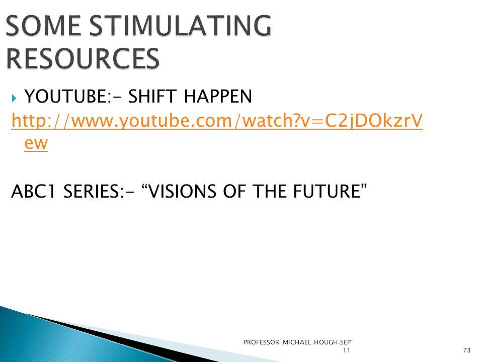 "PROFESSOR MICHAEL HOUGH.SEP 1173 SOME STIMULATING RESOURCES  YOUTUBE:- SHIFT HAPPEN http://www.youtube.com/watch?v=C2jDOkzrV ew ABC1 SERIES:- ""VISION"