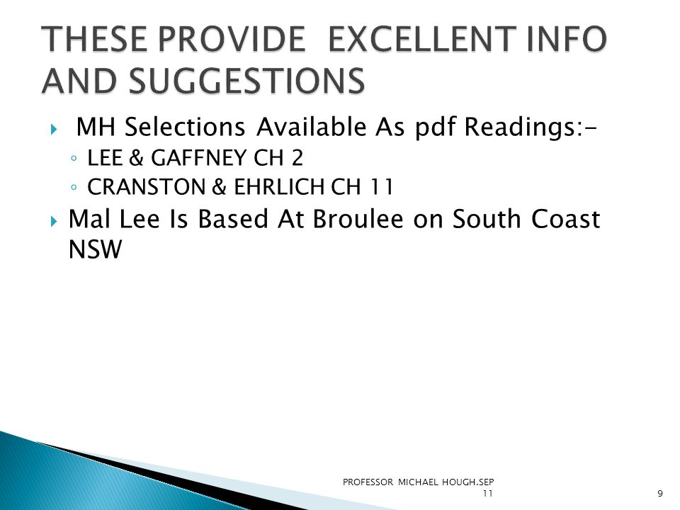  MH Selections Available As pdf Readings:- ◦ LEE & GAFFNEY CH 2 ◦ CRANSTON & EHRLICH CH 11  Mal Lee Is Based At Broulee on South Coast NSW PROFESSOR