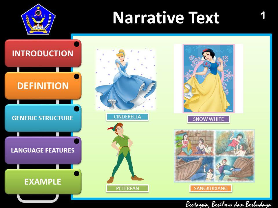 DEFINITION GENERIC STRUCTURE GENERIC STRUCTURE LANGUAGE FEATURES EXAMPLE Narrative Text INTRODUCTION Bertaqwa, Berilmu dan Berbudaya 1 CINDERELLA SNOW WHITE PETERPAN SANGKURIANG