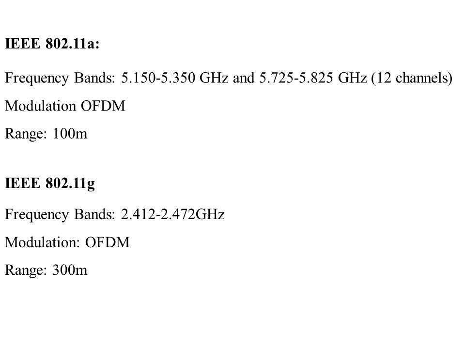 IEEE 802.11a: Frequency Bands: 5.150-5.350 GHz and 5.725-5.825 GHz (12 channels) Modulation OFDM Range: 100m IEEE 802.11g Frequency Bands: 2.412-2.472