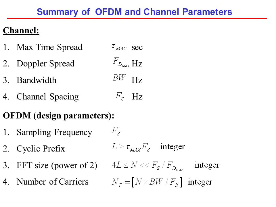Summary of OFDM and Channel Parameters Channel: 1.Max Time Spread sec 2.Doppler Spread Hz 3.Bandwidth Hz 4.Channel Spacing Hz OFDM (design parameters)