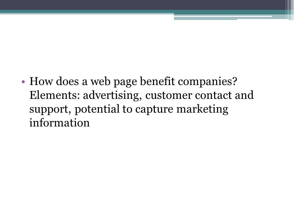 How does a web page benefit companies.