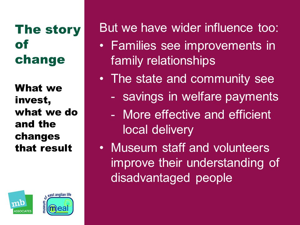 The story of change What we invest, what we do and the changes that result But we have wider influence too: Families see improvements in family relationships The state and community see ­savings in welfare payments ­More effective and efficient local delivery Museum staff and volunteers improve their understanding of disadvantaged people