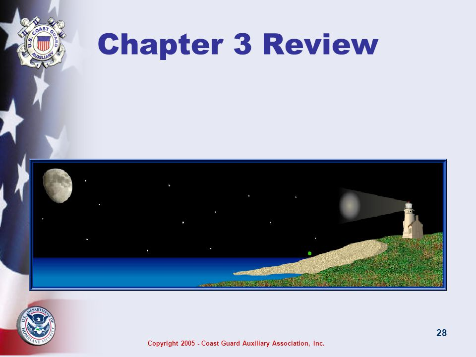 Copyright 2005 - Coast Guard Auxiliary Association, Inc. 28 Chapter 3 Review