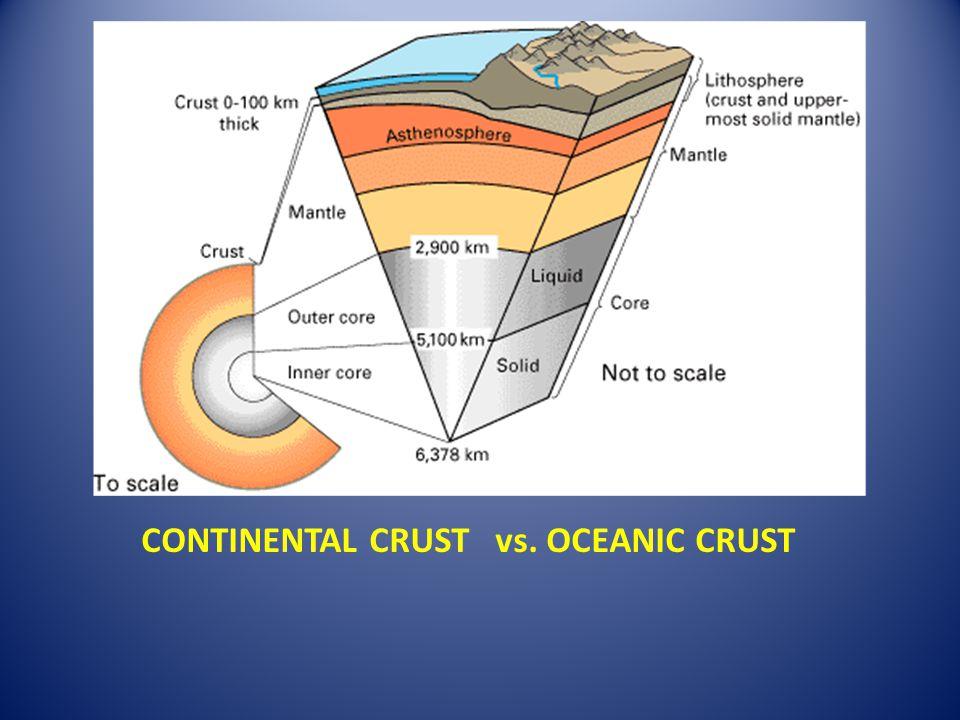 CONTINENTAL CRUST vs. OCEANIC CRUST