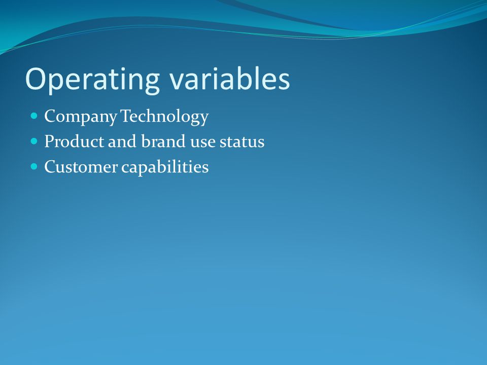 Operating variables Company Technology Product and brand use status Customer capabilities