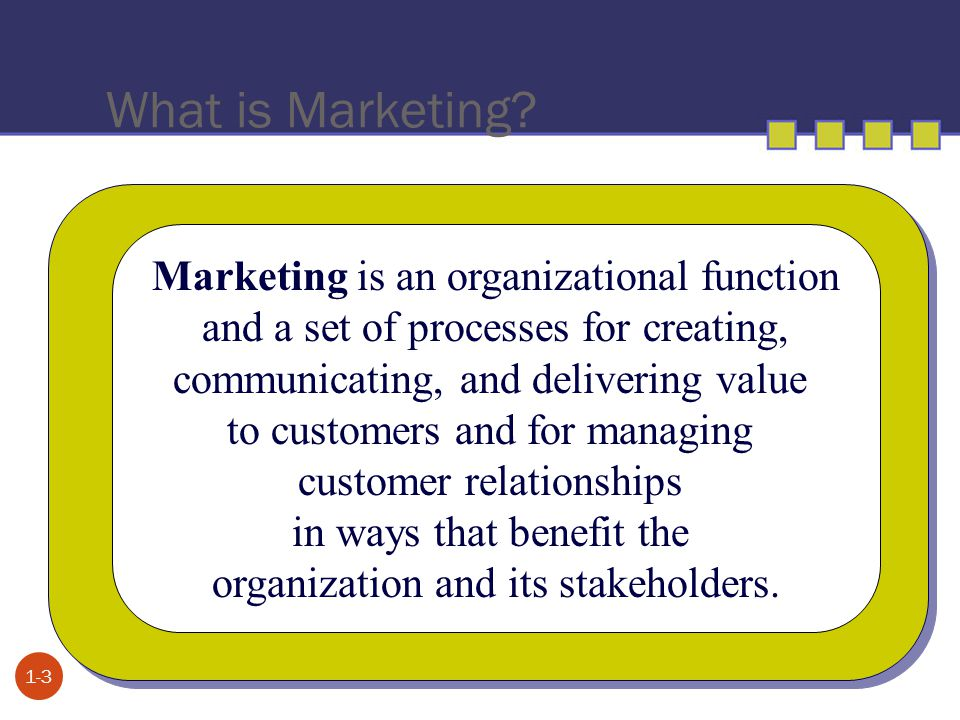 What is Marketing? 1-3 Marketing is an organizational function and a set of processes for creating, communicating, and delivering value to customers a