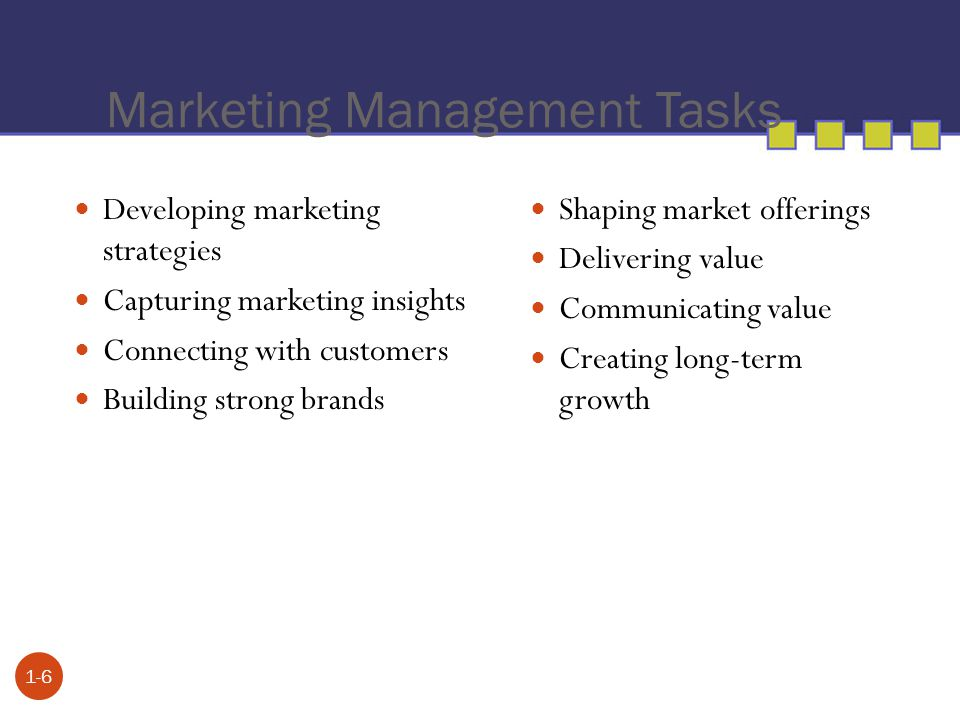 Marketing Management Tasks 1-6 Developing marketing strategies Capturing marketing insights Connecting with customers Building strong brands Shaping m