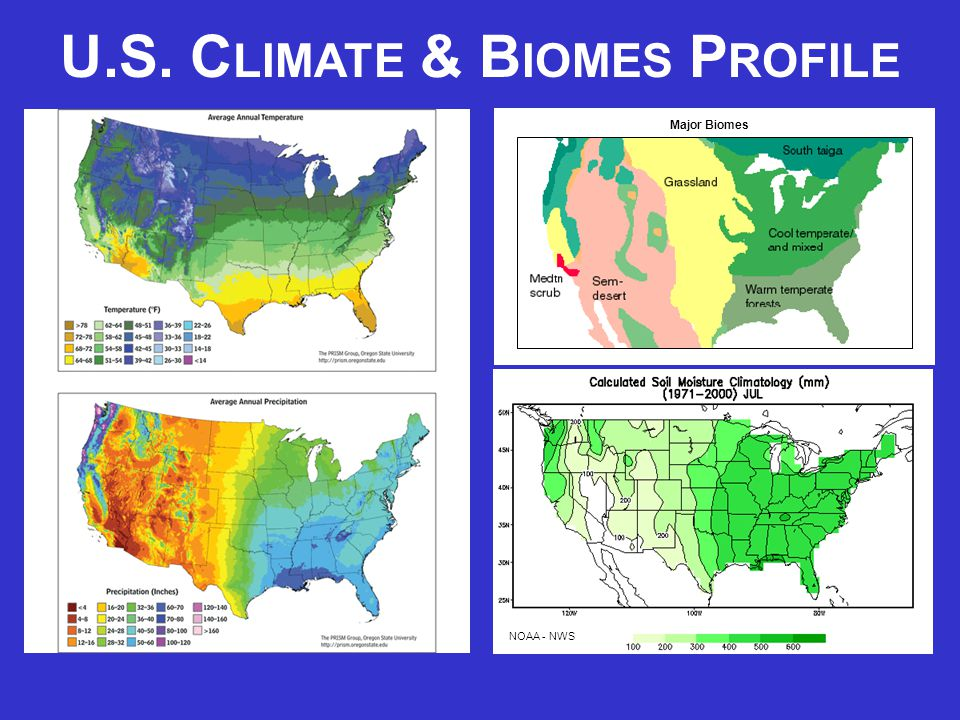 Major Biomes NOAA - NWS U.S. C LIMATE & B IOMES P ROFILE