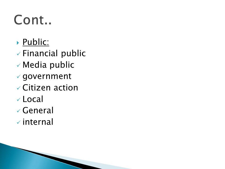  Public: Financial public Media public government Citizen action Local General internal