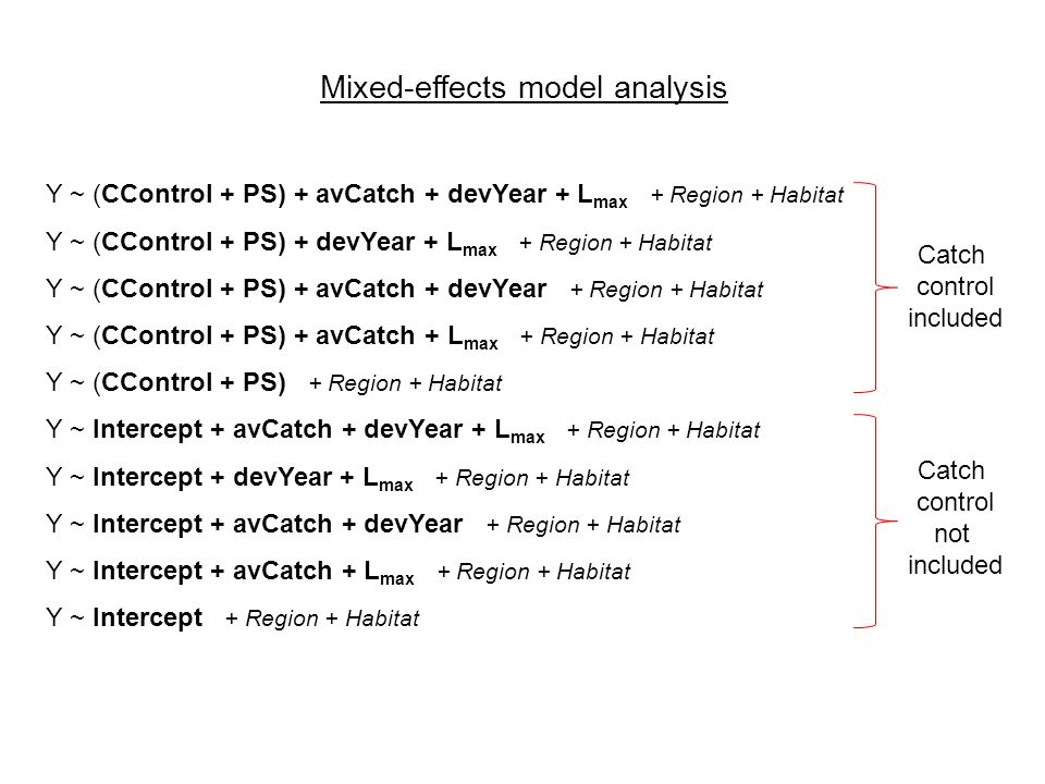 Mixed-effects model analysis Y ~ (CControl + PS) + avCatch + devYear + L max + Region + Habitat Y ~ (CControl + PS) + devYear + L max + Region + Habitat Y ~ (CControl + PS) + avCatch + devYear + Region + Habitat Y ~ (CControl + PS) + avCatch + L max + Region + Habitat Y ~ (CControl + PS) + Region + Habitat Y ~ Intercept + avCatch + devYear + L max + Region + Habitat Y ~ Intercept + devYear + L max + Region + Habitat Y ~ Intercept + avCatch + devYear + Region + Habitat Y ~ Intercept + avCatch + L max + Region + Habitat Y ~ Intercept + Region + Habitat Catch control included Catch control not included