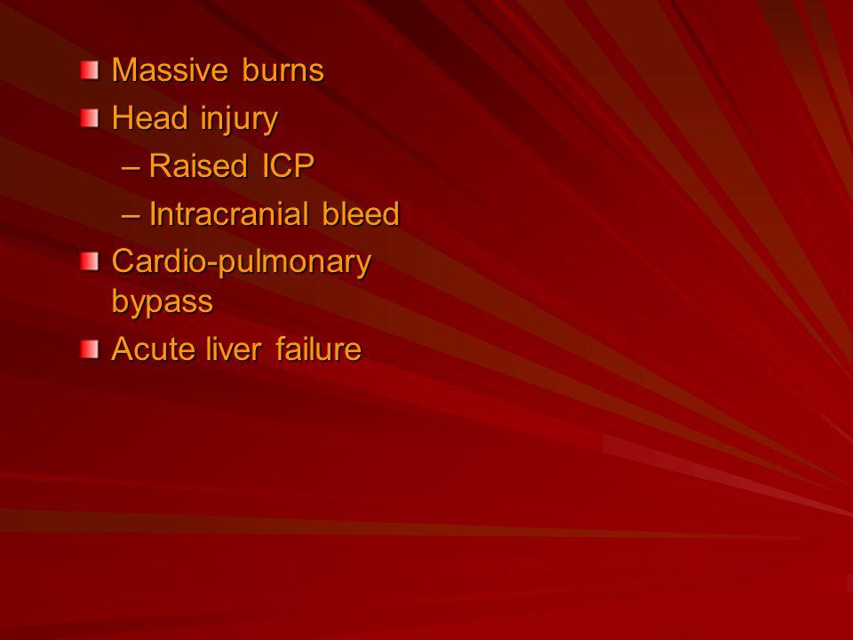 Massive burns Head injury –Raised ICP –Intracranial bleed Cardio-pulmonary bypass Acute liver failure