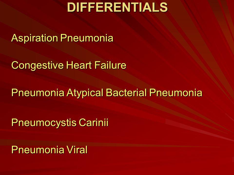 DIFFERENTIALS Aspiration Pneumonia Congestive Heart Failure Pneumonia Atypical Bacterial Pneumonia Pneumocystis Carinii Pneumonia Viral