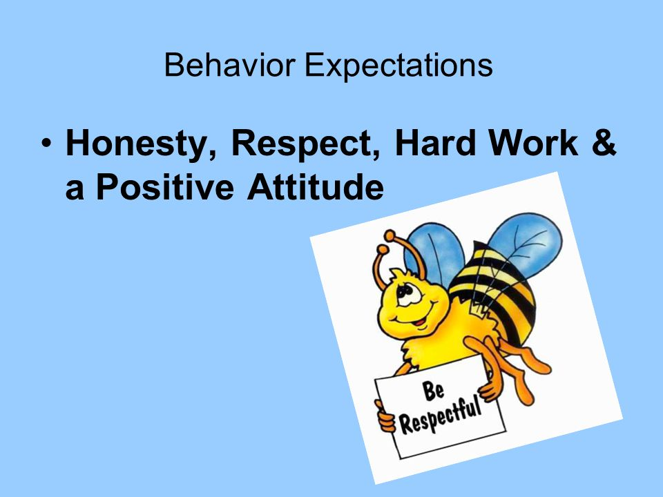 Behavior Expectations Honesty, Respect, Hard Work & a Positive Attitude