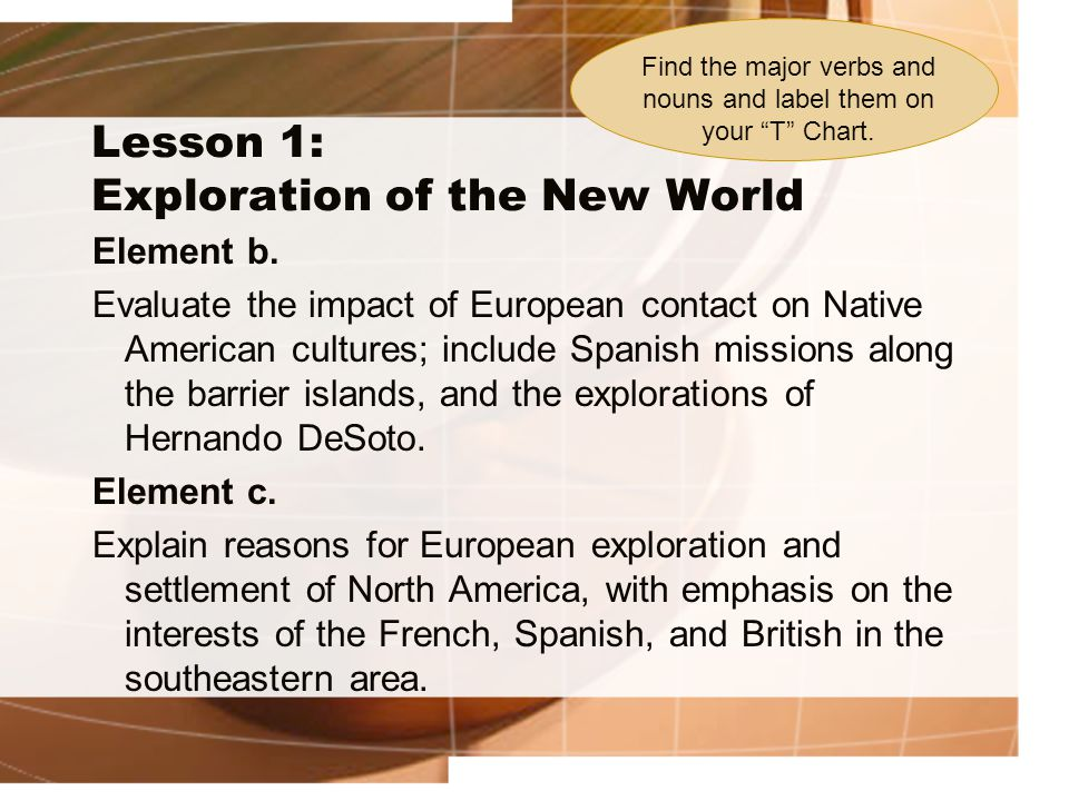 Unit 2: Exploration and GA Colonization Lesson 1: Exploration of the New World Impact of European contact on Native American cultures: 1.Spanish Missions 2.Hernando DeSoto Reasons for European Exploration and Settlement of North America: 3.French 4.Spanish 5.British Evaluate Explain NounsVerbs