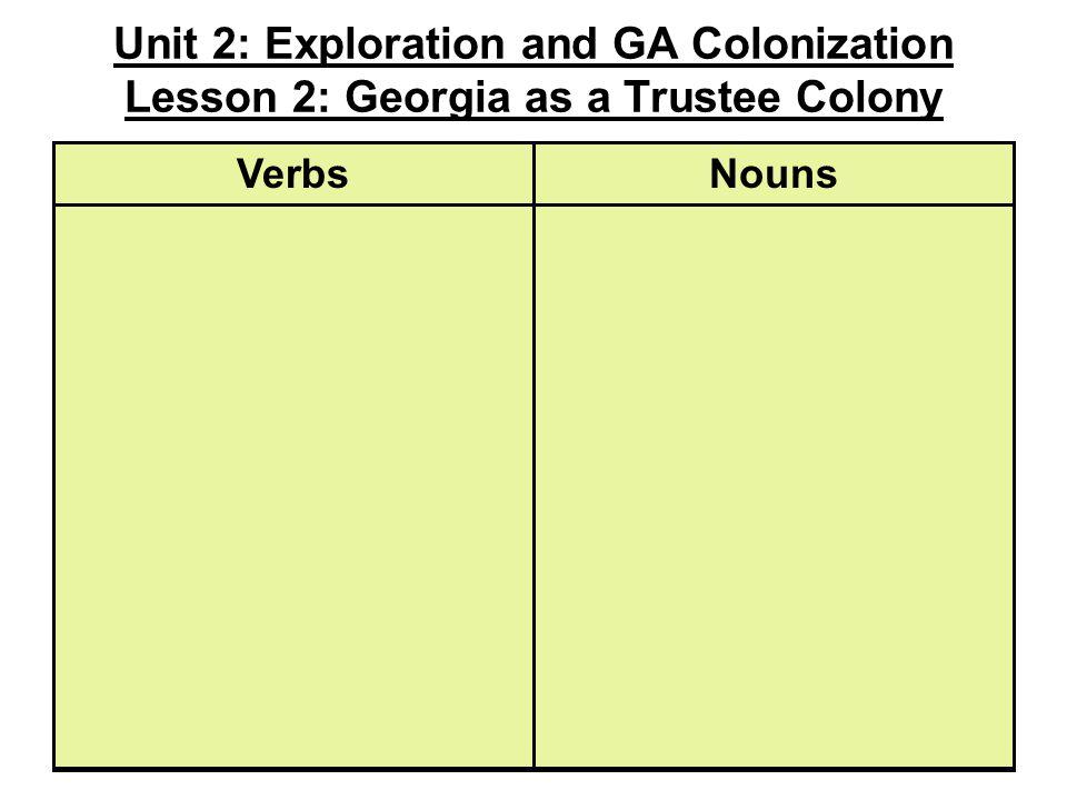 Unit 2: Exploration and GA Colonization Lesson 2: Georgia as a Trustee Colony NounsVerbs