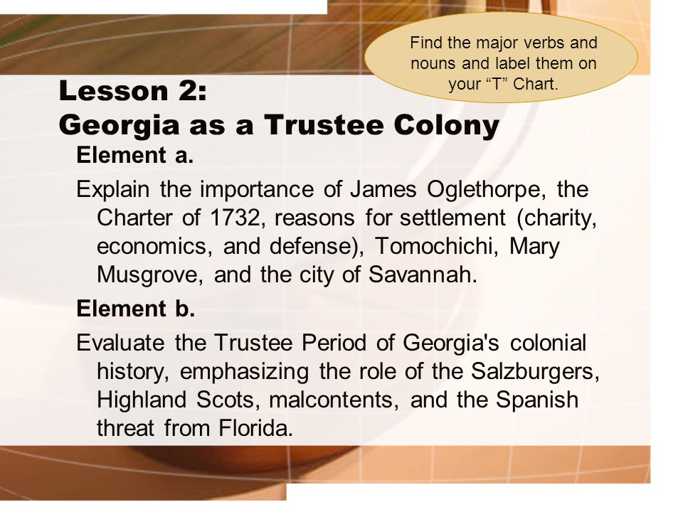 Unit 2: Exploration and GA Colonization Lesson 2: Georgia as a Trustee Colony Importance of: 1.James Oglethorpe 2.Charter of 1732 3.Reasons for Settlement 4.Tomochichi 5.Mary Musgrove 6.City of Savannah The Trustee Period, emphasizing: 7.Salzburgers 8.Highland Scots 9.Malcontents 10.Spanish threat from Florida Explain Evaluate NounsVerbs