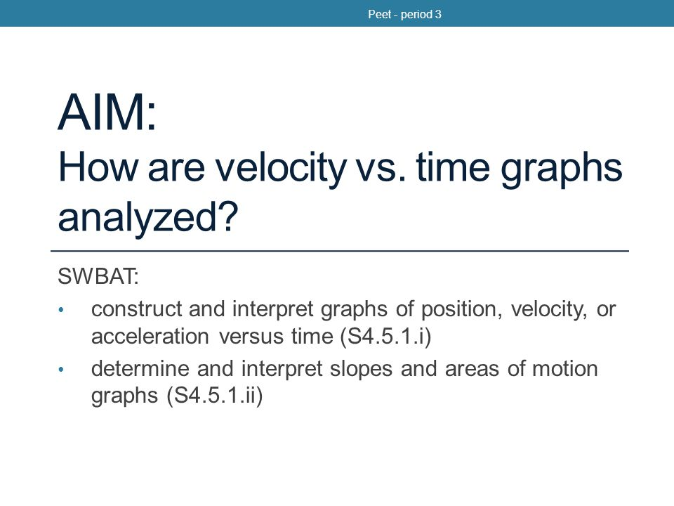 Two Equations from Monday Position with constant acceleration: Velocity with constant acceleration: Peet - period 3