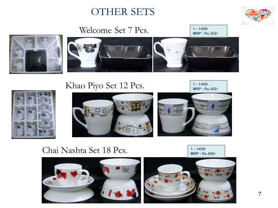 OTHER SETS Welcome Set 7 Pcs. 1 - 1499 MRP : Rs.352/- Khao Piyo Set 12 Pcs. 1 - 1499 MRP : Rs.562/- Chai Nashta Set 18 Pcs. 1 - 1499 MRP : Rs.866/- 7