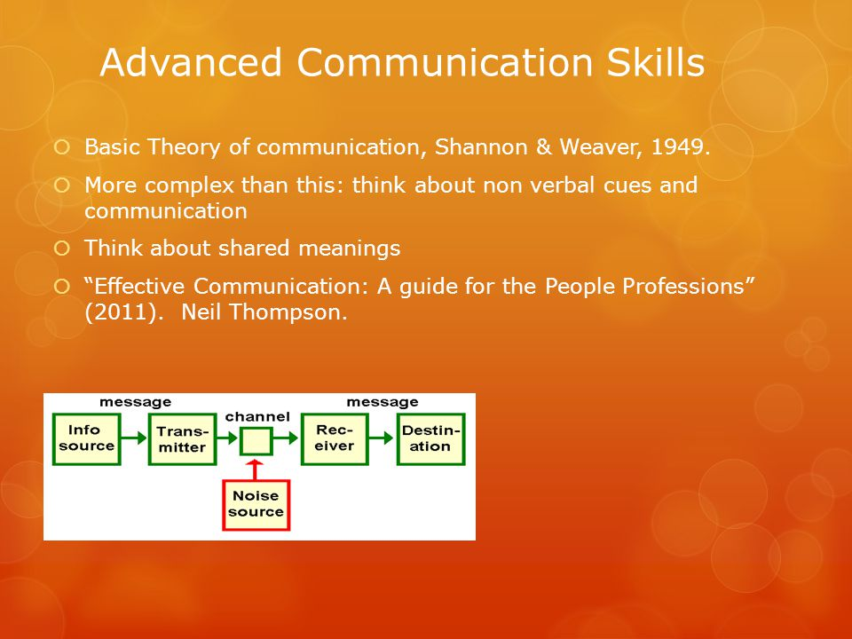 Advanced Communication Skills  Basic Theory of communication, Shannon & Weaver, 1949.  More complex than this: think about non verbal cues and commu