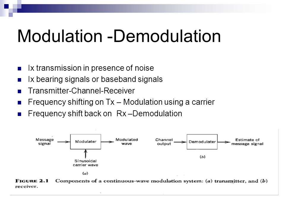 Modulation -Demodulation Ix transmission in presence of noise Ix bearing signals or baseband signals Transmitter-Channel-Receiver Frequency shifting on Tx – Modulation using a carrier Frequency shift back on Rx –Demodulation