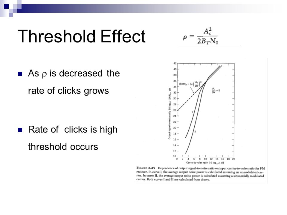 Threshold Effect As  is decreased the rate of clicks grows Rate of clicks is high threshold occurs