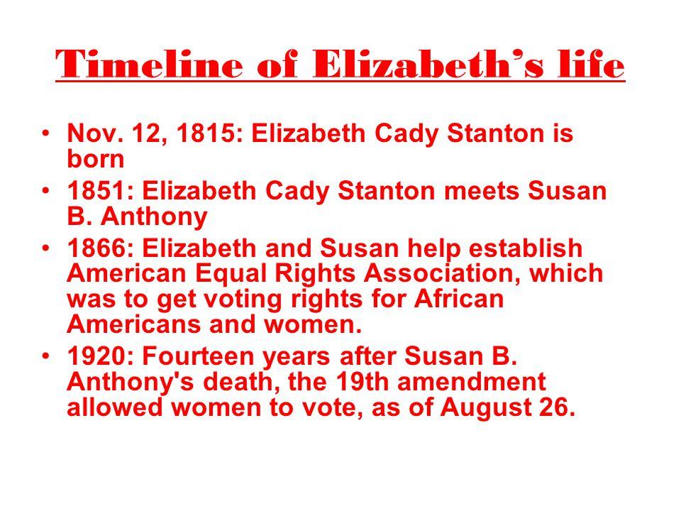 Timeline of Elizabeth's life Nov. 12, 1815: Elizabeth Cady Stanton is born 1851: Elizabeth Cady Stanton meets Susan B. Anthony 1866: Elizabeth and Sus