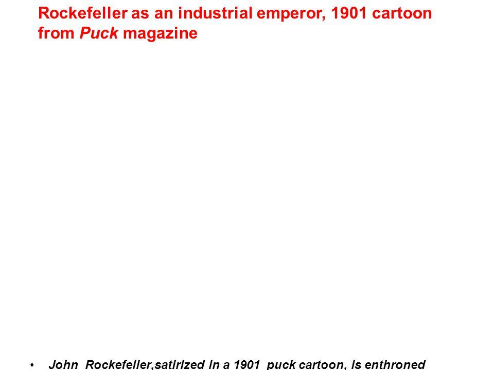 John Rockefeller,satirized in a 1901 puck cartoon, is enthroned Rockefeller as an industrial emperor, 1901 cartoon from Puck magazine