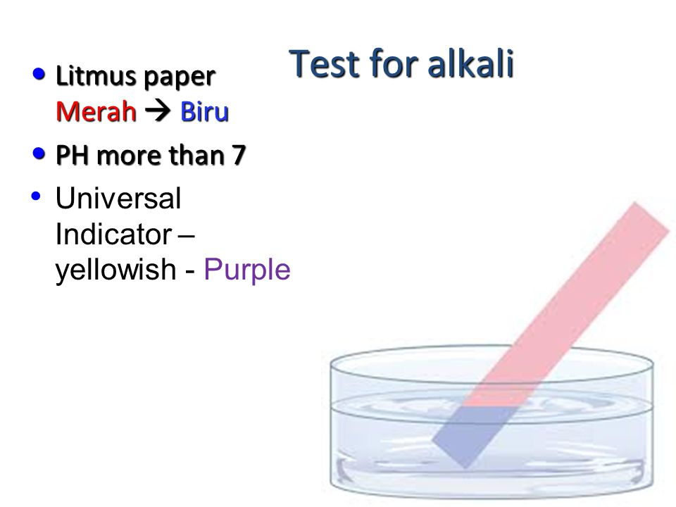 Test for acid Litmus paper Biru  Merah PH less than 7 Universal Indicator – yellowish green to Red