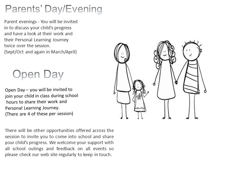 Parent evenings - You will be invited in to discuss your child's progress and have a look at their work and their Personal Learning Journey twice over the session.