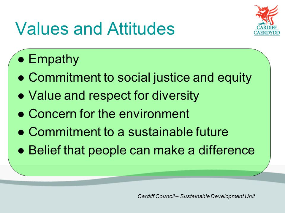 Cardiff Council – Sustainable Development Unit Values and Attitudes ● Empathy ● Commitment to social justice and equity ● Value and respect for diversity ● Concern for the environment ● Commitment to a sustainable future ● Belief that people can make a difference