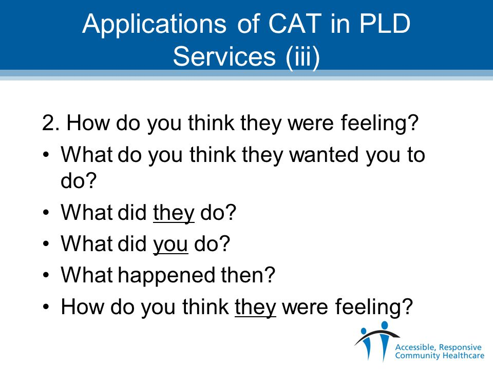Applications of CAT in PLD Services (iii) 2. How do you think they were feeling? What do you think they wanted you to do? What did they do? What did y