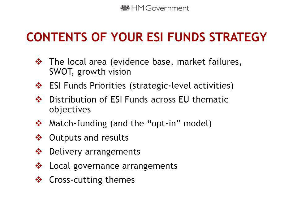 CONTENTS OF YOUR ESI FUNDS STRATEGY  The local area (evidence base, market failures, SWOT, growth vision  ESI Funds Priorities (strategic-level activities)  Distribution of ESI Funds across EU thematic objectives  Match-funding (and the opt-in model)  Outputs and results  Delivery arrangements  Local governance arrangements  Cross-cutting themes