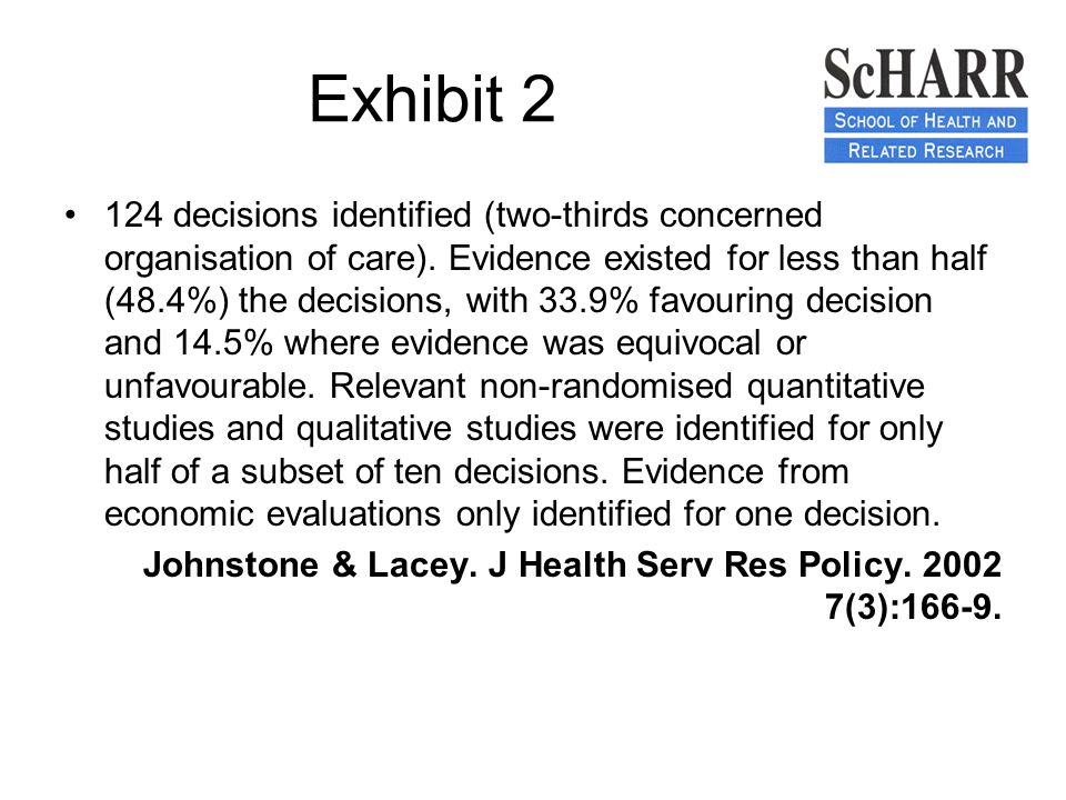 Exhibit 2 124 decisions identified (two-thirds concerned organisation of care).