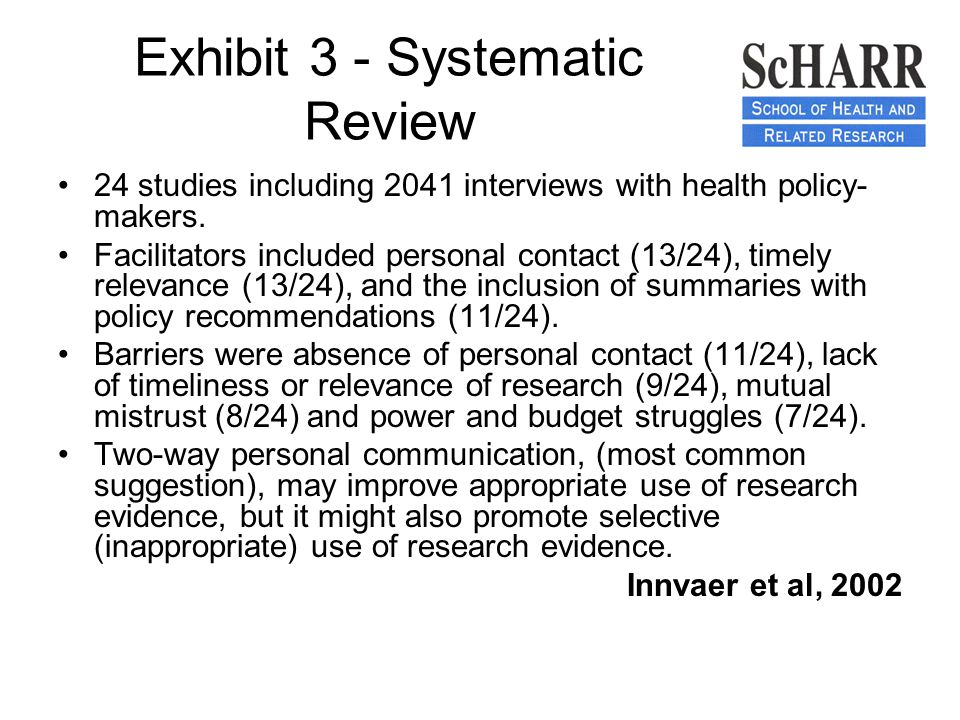 Exhibit 3 - Systematic Review 24 studies including 2041 interviews with health policy- makers.